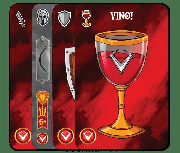 Carte principali Throne. Carta di Tipo Colpo, di Tipo Equipaggiamento, di Tipo Schivata e di Tipo Vino!